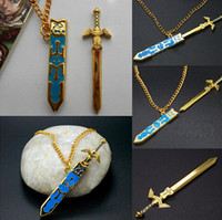 Wholesale fashion Legend of Zelda Statement Necklaces Removable Master Sword Long Gold Chains Pendant Necklace Fashion Jewelry Fine Cosplay Gift