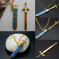al por mayor collares zelda-La leyenda de la moda de las Cadenas Declaración Zelda Collares extraíble Espada Maestra largo del oro joyería pendiente de moda Bella Cosplay regalo