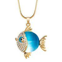 2016 Collar Colgante Charms Joyería De Oro De 18K Artificial Opala Cristal Tropical Peixe Chokers Suéter Cadena De Moda De Regalo Para Las Mujeres