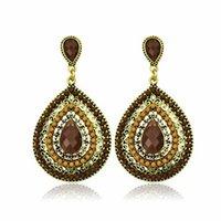 Wholesale Vintage earings Fashion jewelry Bohemian Teardrop shaped Beaded Pendants big earrings for women