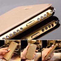 Wholesale Shining Diamond Metal Bumper Flip PU Leather Case Cover For Apple iPhone Plus S S