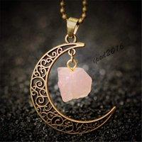 Wholesale 2016 Fashion Vintage Moon Necklace Irregular Natural Stone Pendant Necklaces Amethyst Rose Quartz Crystals Bronze Chains Jewelry