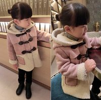 wool fabric coat - 2014 Winter children coats new style suede fabric double breasted lambs wool girls coat tops size kids hooded outwear SM899