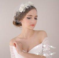 Wholesale 2015 Fashion Wedding Bridal Crystal Rhinestone Pearls Faux Flowers Pieces Headband Birdcage Veil Hair Accessories Ornament Tiara Jewelry Set