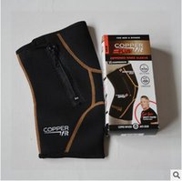 Wholesale 300pcs CCA3569 New Arrival Free Size Unisex Black Copper Fit Pro Series Performance Compression Knee Sleeve With Zipper With Retail Package