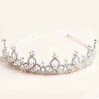 Cheap New Kids Girls Diamante Rhinestone Crystal Pearl Crown Headband Veil Hairwear Tiara Wedding Bridal Jewelry