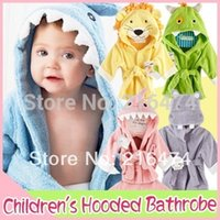 Wholesale Adorable Hooded Animal modeling Baby Bathrobe Cartoon Baby Towel kids bath robe infant bath towels