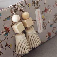 wooden earrings - Short Dangle Earrings Light Blue Earrings Tassel Earrings Tiny Tassles Fringe Earrings Wooden Earrings