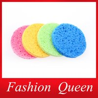 Wholesale Natural Wooden Fibre Cosmetic Puff Candy Color Magic Face Wash Cleansing Sponge Beauty Makeup Tools Accessories