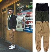 beam m - Fashion pure color beam multi pocket casual harem khaki green pants trousers men basic ankle tied pants Reducing uk fashion