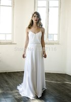 Cheap 2015 White Simple Beach Wedding Dress For Cheap Spaghetti Strap Romantic Chiffon Boho Wedding Dresses With Chapel Train Lvory