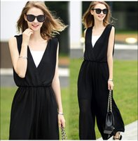 Wholesale Women s Clothing Zanzea Rompers Womens Jumpsuit Summer Brand Sexy Sleeveless Deep V Neck Jumpsuit Chiffon Overalls Plus Size