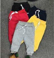 baby boy slacks - 2016 Winter Warmth Baby Boy Girl Thicken Slacks Sport Pants Solid Kids Pocket Trousers Pants Elastic Leggings Children Girls Clothes K6003