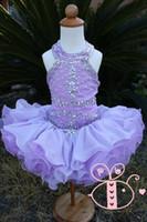 girls pageant dresses size 12 - Babies Cupcake Pageant Dresses New Halter Neckline Crystal Rhinestones Cascade Ruffles Regency Organza Girls Party Dresses Size
