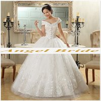 Wholesale Angel bride wedding dress latest white shoulders thin lady long tail