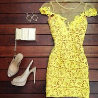 Wholesale European Style New Women Sexy See Through Dress Yellow Lace Patchwork Mini Dress Elegant Party Clubwear Size XS S M L