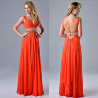 Wholesale Youthful Tangerine Prom Dress With V_neck Backless Ball Gowns Beading Sash Flowing Chiffon Party Dress