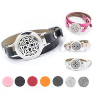 band oil - 25mm stainless steel twisted off essential oil diffuser wrap bracelet locket with genuine leather band free felt pads