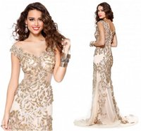 fancy dress sexy - Fancy Mermaid Evening Dresses Sexy Scoop Sheer Neck with Applique Sequins Illusion Sweep Train Prom Dresses High Quality Formal Dress