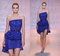 achat en gros de zuhair murad robe de paillettes bleu-Luxe Bling Zuhair Murad robes de bal bleu bretelles bretelles sequin cristal robe de soirée Ruffle 2016 Nouveau Robes de Novia Robes de cocktail