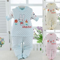 Wholesale The new children s thermal underwear sets cotton boys and girls plus thick velvet tracksuit Qiuyiqiuku