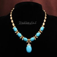 Wholesale jewelry free New Arrival Aquamarine Fashion Round k Gold Plated Necklace Bracelet Earrings Ring Jewelry Sets Gift