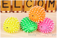 Wholesale High quality New Cute Hedgehog Shape Pet Dog Puppy Squeaky Chew Toy Squeaker Ball Funny Toys Random Color