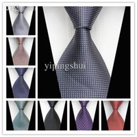 Wholesale CON55 Gray Black Purple Red Geometric Dot Stripe New Classic Silk Woven Neck Tie Business Casual Knitted Mens Ties Neckties