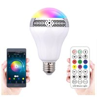 Wholesale LED Colorful Bluetooth Speaker Lamp with Controlled white light W RGB W Speaker W E27 Colors Smart LED Light IOS Android
