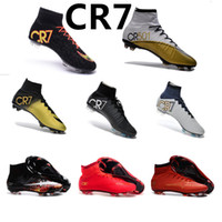 Wholesale New Ronaldo CR7 Soccer Shoes New Soccer Boots Mercurial Superfly FG Mens Shoes Soccer Cleats Size