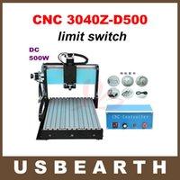 оптовых cnc engraver-Настольный фрезерный станок с ЧПУ 3040 Z-D гравер станок с 500W шпинделем и концевым выключателем