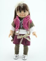 Cheap 18'' Reborn Baby dolls full handmade AMERICAN GIRL brown hair reborn full vinyl newborn baby doll baby toys soft girls gift