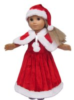Wholesale 3pc Christmas Red Color Hat Shawl Dresses for quot American Girl Doll Clothes