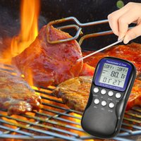 barbecue thermometers - LCD Food Cooking Thermometer Timer Digital Probe Thermometer Barbecue Kitchen BBQ Meat Poultry Temperature Gauge DHL H16548