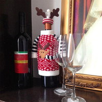 festival clothing - Christmas Deer Clothes with Antler Hat Wine Bottle Cover Festivals Home Holiday Table Dinner Party Gift Santa Decoration sets