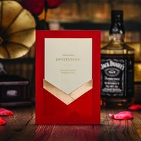 Cheap Elegant Red Free Printing Pocket Wedding Invitations Birthday Invitation Card With Free Envelope 50 pcs