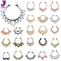 Wholesale Hot Sale Variety Fake Septum Nose Rings Crystal Gold Faux Piercing Nose Studs Body Hoop Nose Ring For Women Septum Clip Jewelry