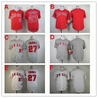 Wholesale 2015 Men s Los Angeles Angels Mike Trout Cool Base Jersey Embroidery Logoes Customized Jerseys accepted Fashions sports