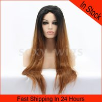 Wholesale New Sexy Long Wig Straight Ombre Color Synthetic Lace Front Wig Heat Friendly Hair with Baby Hairs As the Picture Show