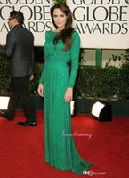 angelina lace - Shining Long Sequined Green Prom Dresses Angelina Jolie Red Carpet Charming A Line Full Sleeve Celebrity Dresses Evening Dresses CDAJ02