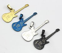 Bohemian animal guitar - NEW Fashion Stainless steel Charms Music guitar Pendants Fashion Jewelry DIY Fit Bracelets Necklace colors CC07