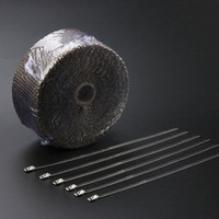 Wholesale 2 quot Titanium Ft Exhaust Header Fiberglass Heat Wrap Tape Ties Kit