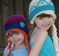 hats and caps - autumn and winter Frozen Princess Anna Elsa snow white princess Baby Girls cap hat hood with wig YY