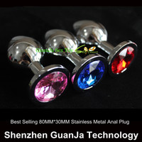 Wholesale Random Colors Metal Mini Anal Toys Butt Plug Small Size Booty Beads Stainless Steel Crystal anal Jewelry Anal Sex Toys
