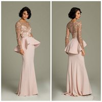 Cheap Promotion 2015 Pink Lace Long Sleeve Evening Dresses Sheer Gold Applique Prom Gowns Peplum Long Chiffon Formal Dress Prom Dress BR03