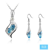 Wholesale Bestsellers Luxury Fashion Silver Plated Crystal Necklace Earrings Wedding Suit Austrian Crystal Jewelry
