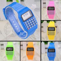 Wholesale School Calculator Wristwatch Children Silicone Date Multi Purpose Electronic Colours Wrist Watch MHM509