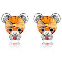 baby earrings bear - Korean New Retro Upscale Small Rhinestone Earrings Baby Bear Sweet Earrings Fashion Earrings b7lcy