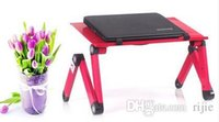 Cheap Wholesale - free shipping new laptop table bed table with fan heat sink aluminum folding computer desk tuba stand lazy Rose Red, Black