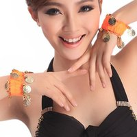 band ankle bracelets - Pair Belly Dance Chiffon Wrist Band Ankle Cuff Bracelet Coins Band Colors New